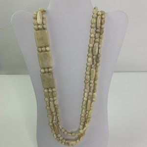 Vintage Multi Strand Celluloid Carved Necklace